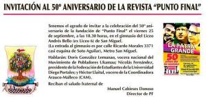50 AÑOS PUNTO FINAL INVITACIÓN